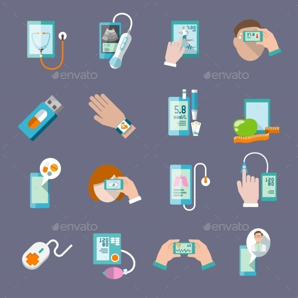 GraphicRiver Mobile Health Icons Set Flat 8975035