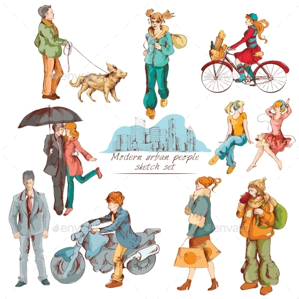 GraphicRiver Urban People Sketch Colored 8975048