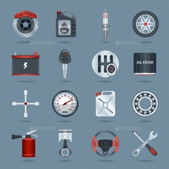 GraphicRiver Car Parts Icons 8975100