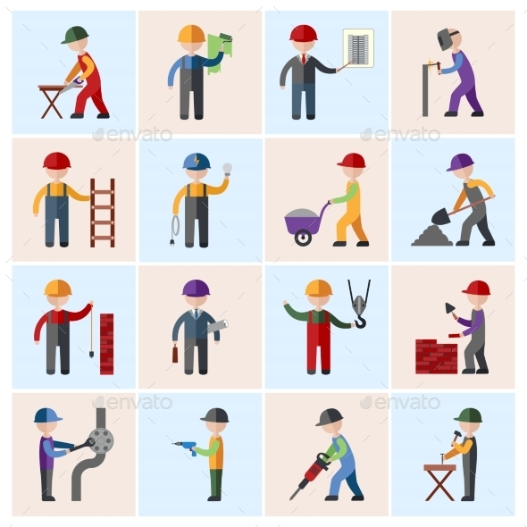 GraphicRiver Construction Worker Icons Flat 8975103