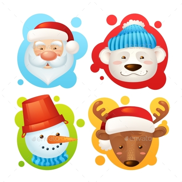 GraphicRiver Christmas Characters Set 8975109