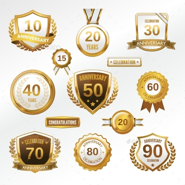 GraphicRiver Anniversary Label Set 8975116