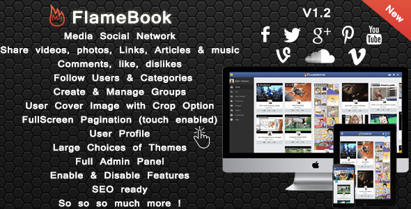CodeCanyon Flamebook Social Network 8889016