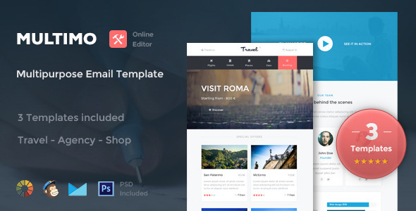ThemeForest Multimo 3 Email Templates & Online Editor 8975539