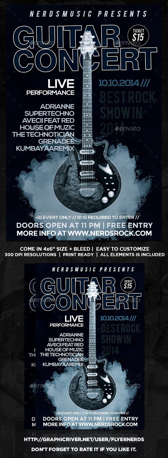 GraphicRiver Guitar Concert Flyer 8975561
