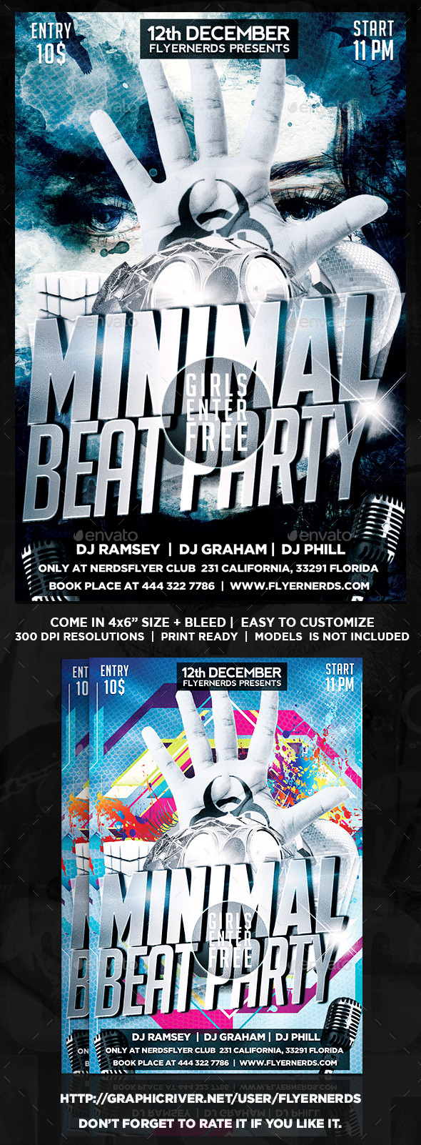GraphicRiver Minimal Beat Party Flyer 8975566