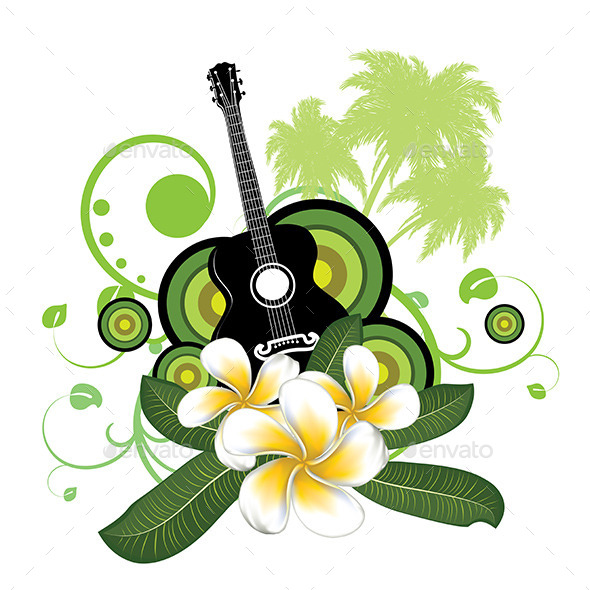 GraphicRiver Plumeria Flowers and Guitar 8975849