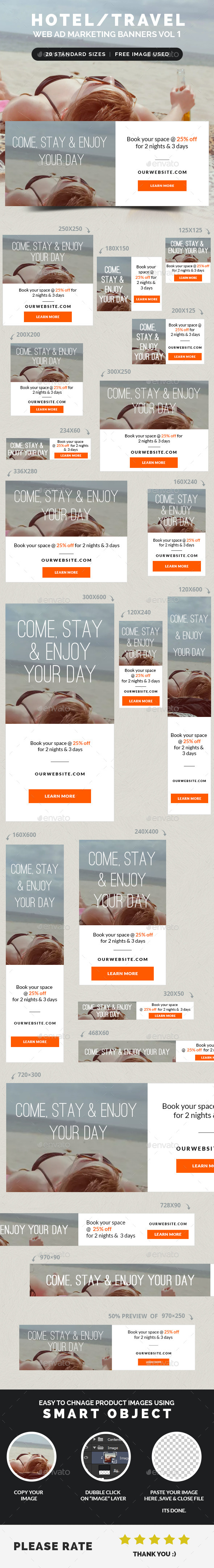 Hotel Travel Web Ad Marketing Banners Vol 1