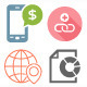 Set of 5 Styles SEO and Development Icons Vector - GraphicRiver Item for Sale