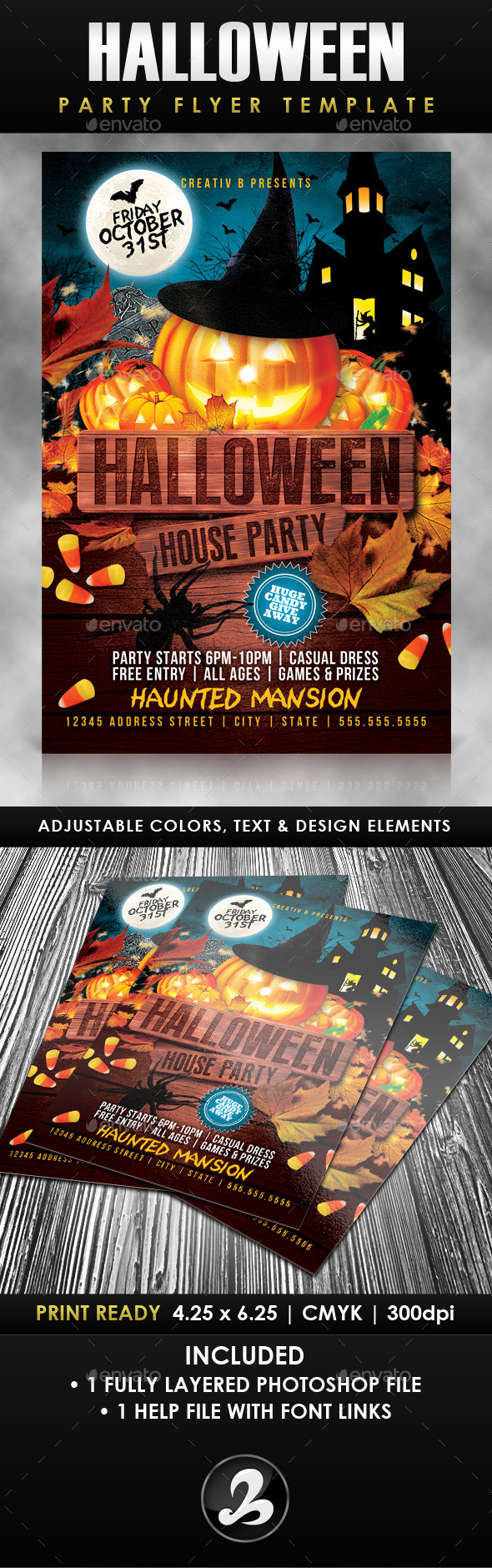 GraphicRiver Halloween House Party Flyer Template 8975941