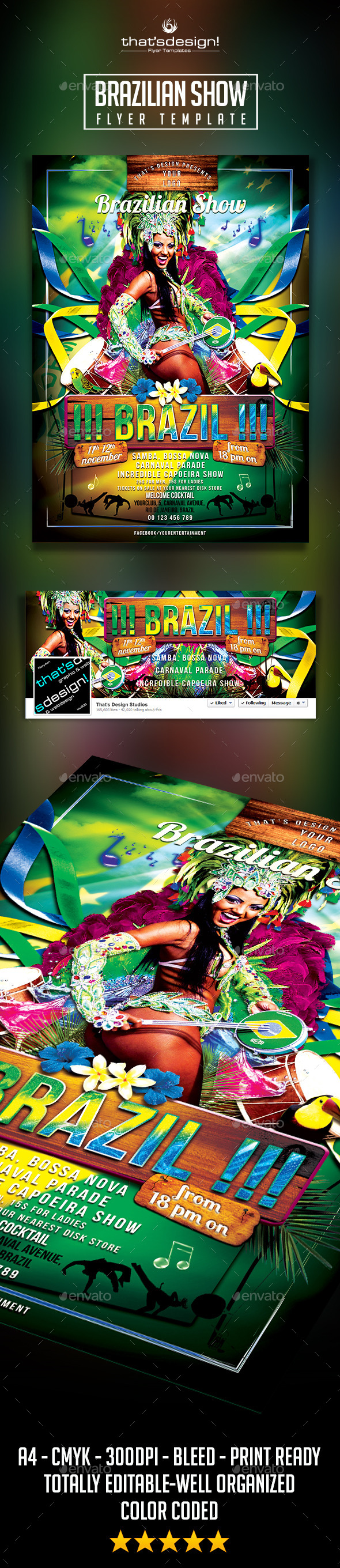Brazilian Show Flyer Template - Clubs & Parties Events