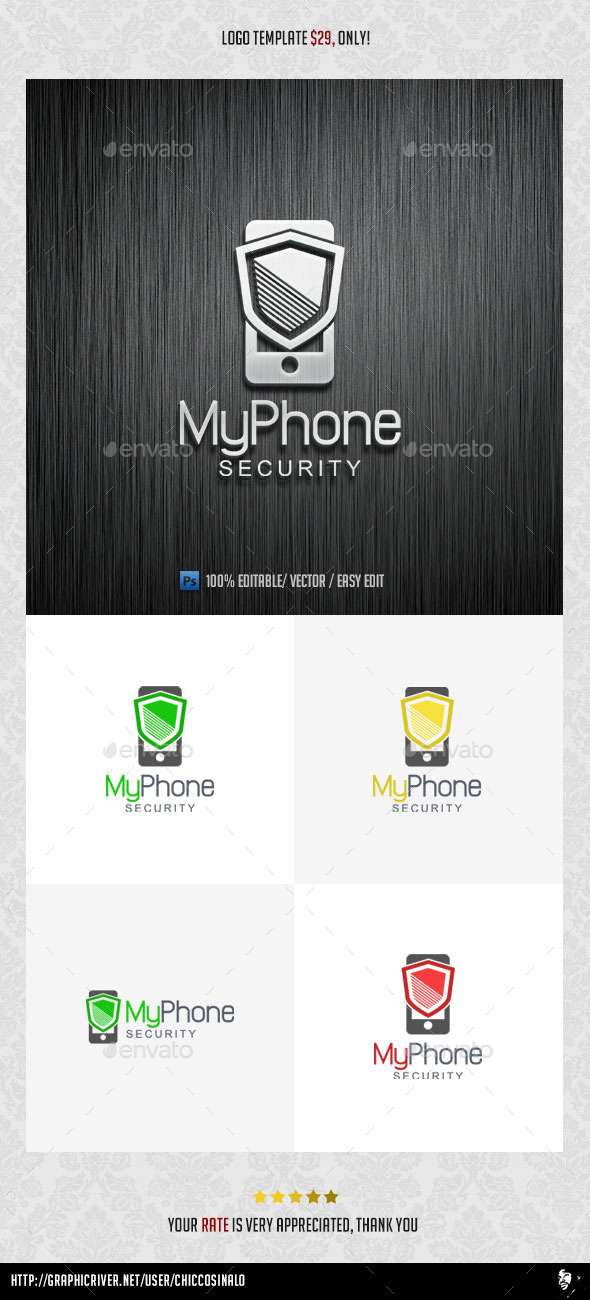 GraphicRiver My Phone Security Logo Template 8976760