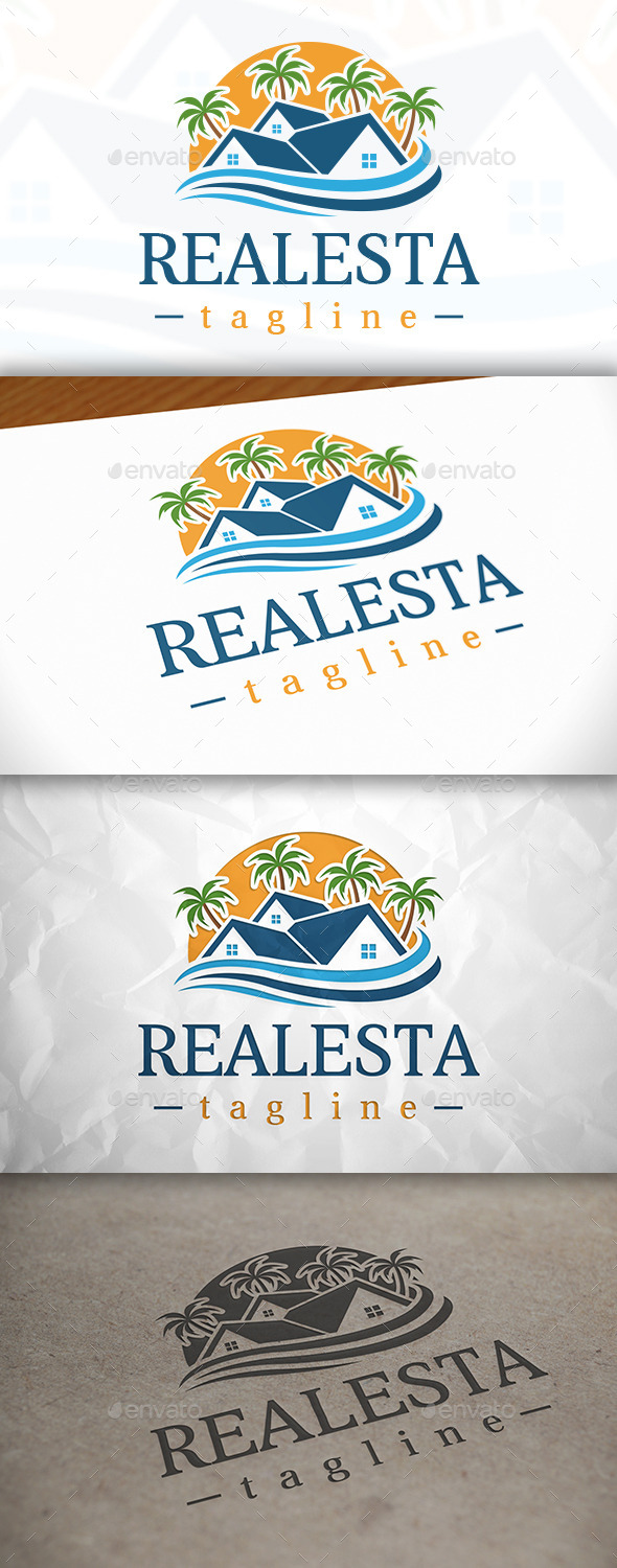 GraphicRiver Beach Real Estate Logo Template 8976832