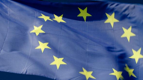 Fluttering Flag Of European Union