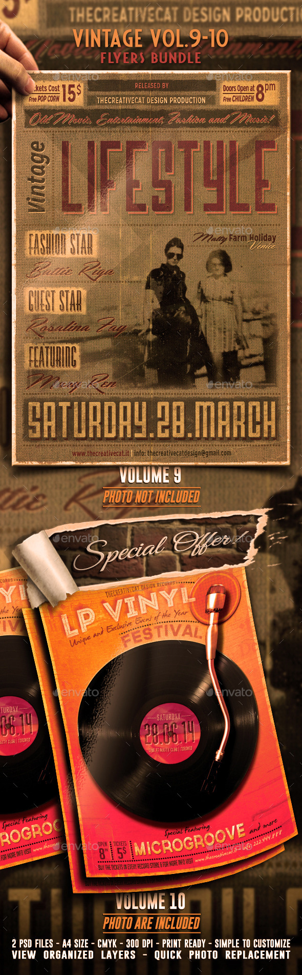 GraphicRiver Vintage Flyer Poster Bundle Vol 9-10 8945526