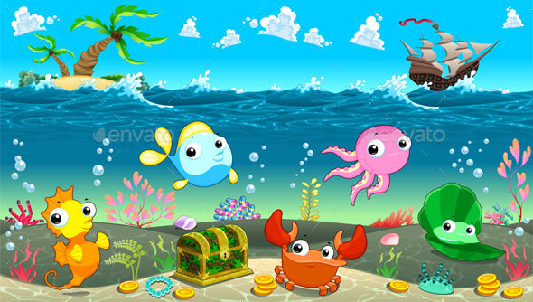 GraphicRiver Scene under the Sea 8977293