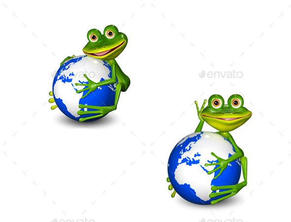 GraphicRiver Frog on Globe 8977399