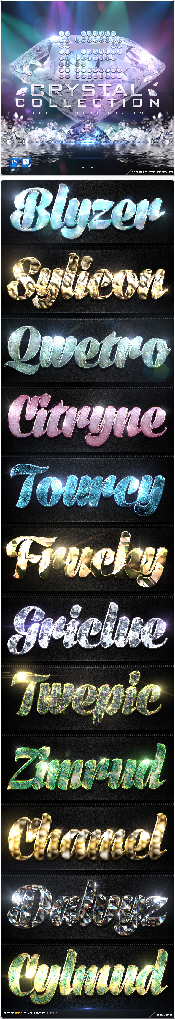 GraphicRiver 12 Crystal Collection Text Effect Styles Vol.4 8977586