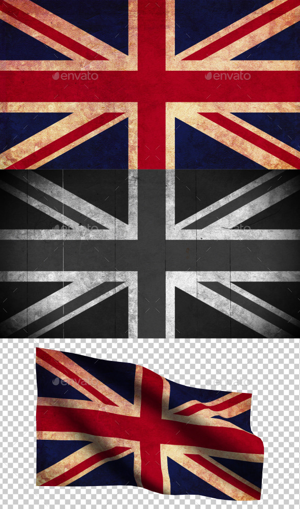 GraphicRiver United Kingdom Flag Grunge and Retro 8977603