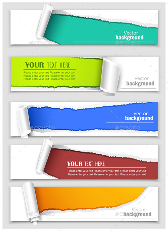 GraphicRiver Set of Banners with Torn Corners 8977729
