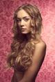 Blonde beautiful girl in beige lingerie vintage color - PhotoDune Item for Sale