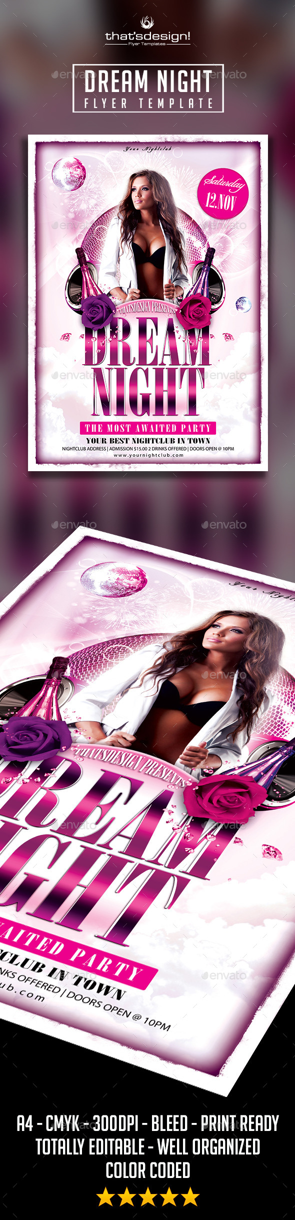 Dream Night Flyer Template - Clubs & Parties Events