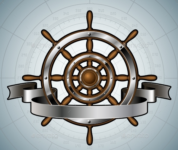 GraphicRiver Ship Steering Wheel with Banner 8979461