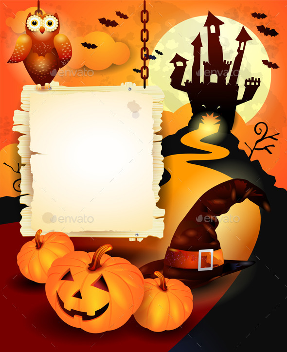 GraphicRiver Halloween Background with Sign in Orange 8979475