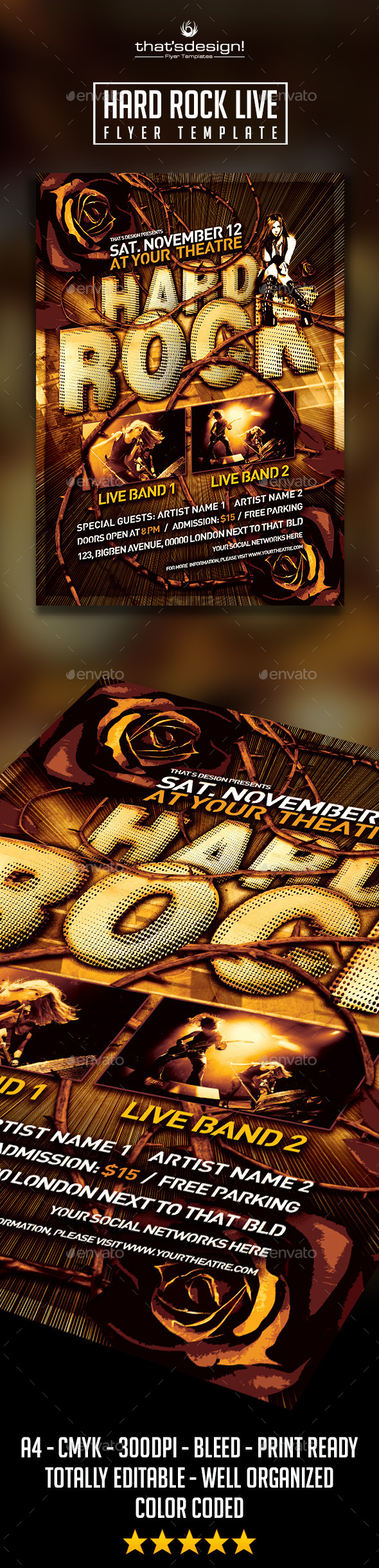 Hard Rock Flyer Template - Print Templates