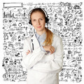 doctor woman with headphones smile at camera - PhotoDune Item for Sale