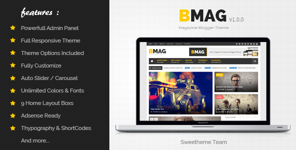 ThemeForest BMAG Magazine Responsive Blogger Template 8933899