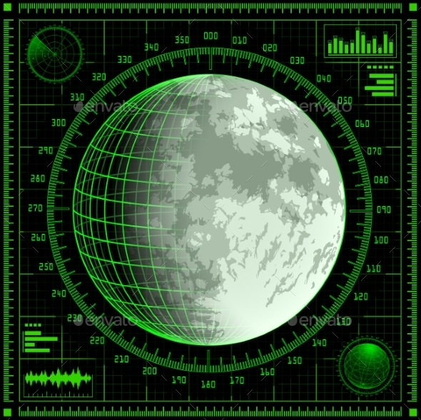 GraphicRiver Radar Screen with Moon 8980086