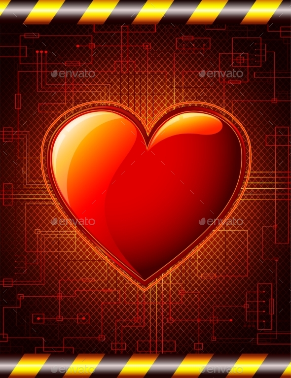 Valentines Background with Glossy Heart