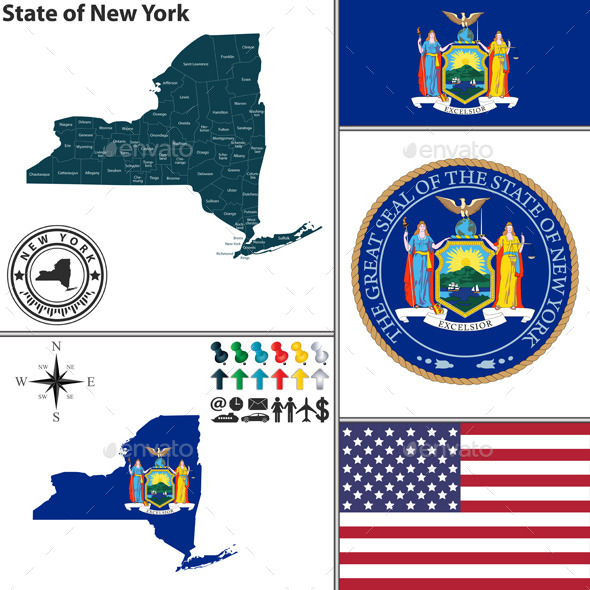 GraphicRiver Map of state New York USA 8980453