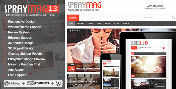 ThemeForest Spraymag eCommerce Magazine Responsive Blog design 8766803