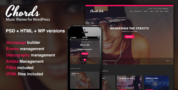 ThemeForest Chords Music Artist Radio WordPress theme 8980824