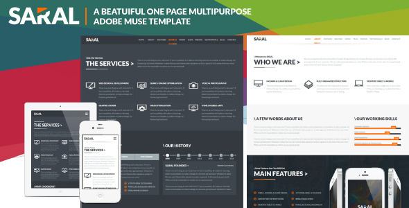 ThemeForest Saral One Page Multipurpose Muse Template 8981746