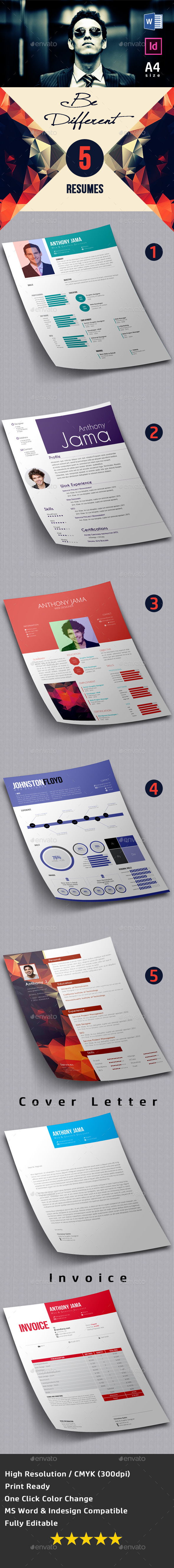 GraphicRiver 5 Resumes Pack 8961472