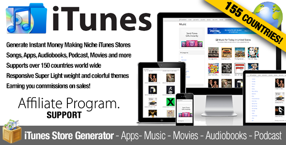 CodeCanyon iTunes Affiliate Apps Music Movies Chart Store 8942626