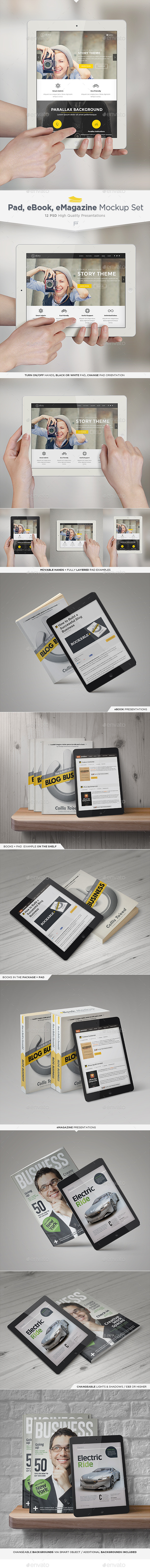 Pad, eBook, eMagazine Mock-Up Set - Multiple Displays