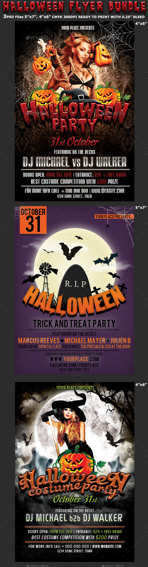 GraphicRiver Halloween Party Flyer Bundle 3in1 8982422