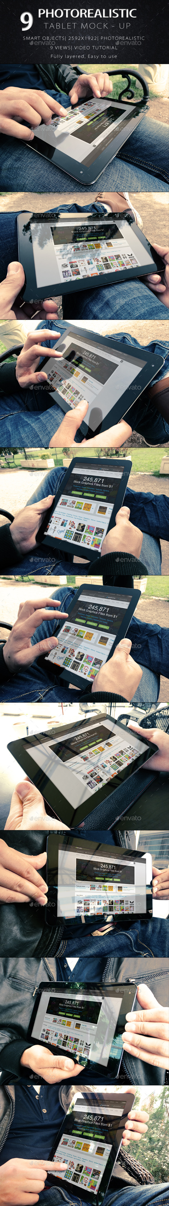 GraphicRiver 9 Photorealistic Tablet With Hands Mock-Up V2 8982561