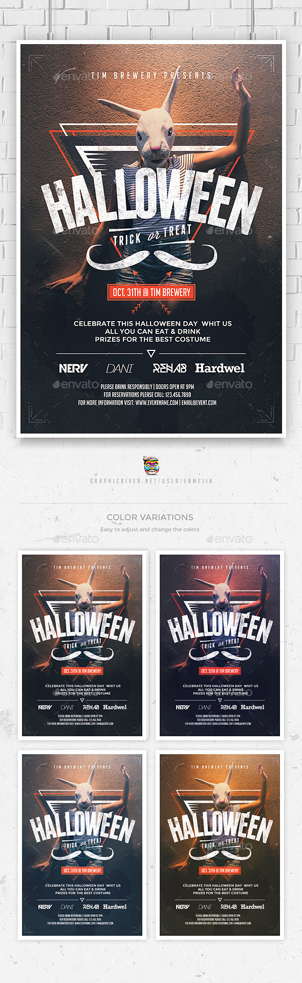 GraphicRiver Hipster Halloween Flyer Template 8983058