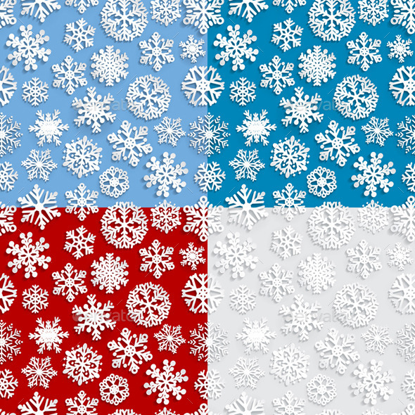 GraphicRiver Seamless Patterns of Paper Snowflakes 8570290