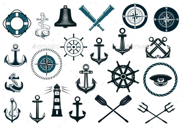 GraphicRiver Set of Nautical Icons 8983414
