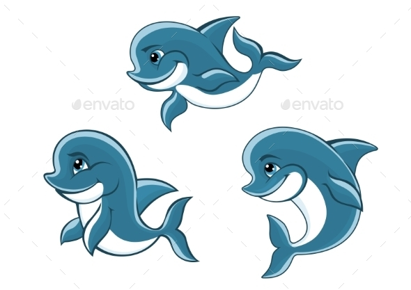 GraphicRiver Cartoon Little Blue Dolphins 8983432