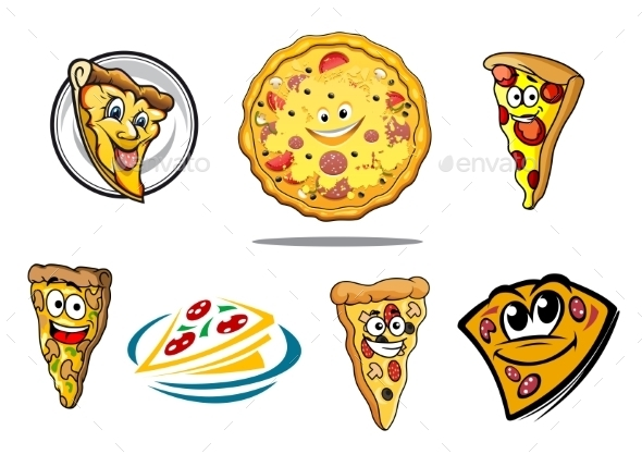 GraphicRiver Colorful Cartoon Pizza Characters and Icons 8983464