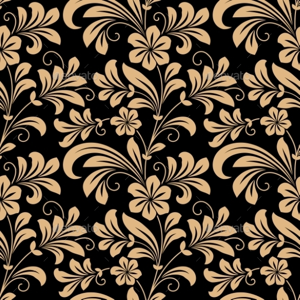 GraphicRiver Floral Seamless Pattern with Gold Flowers 8983467