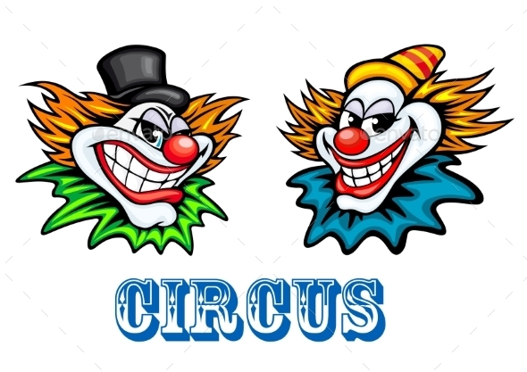 GraphicRiver Colorful Circus Clowns Characters 8983470