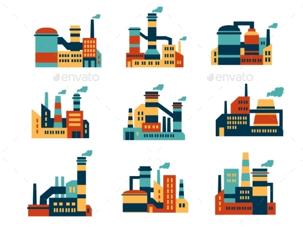 GraphicRiver Flat Industrial Buildings and Factories Icons 8983472